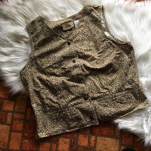 Vintage Liz Claiborne Leopard Cheetah Print Vest